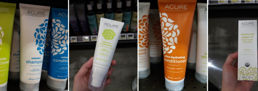 A collage of Acure's products displayed at the local Wholefoods.