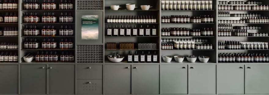 Aesop's organized and beautiful product display