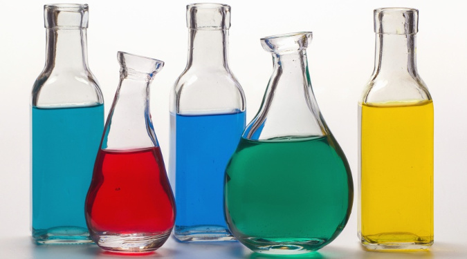 Chemicals in glass laboratory beakers