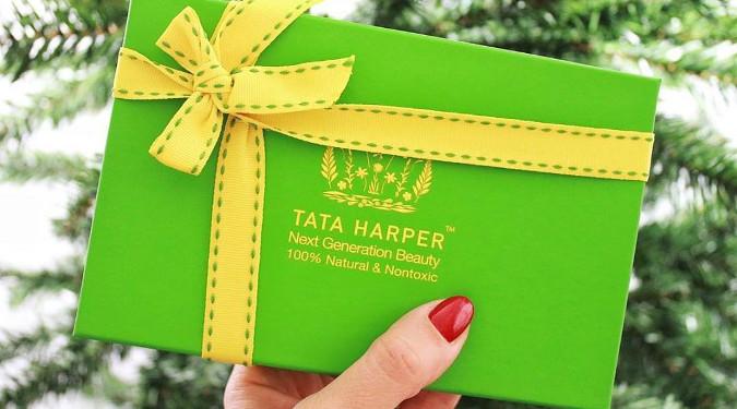 Tata Harper Green Box with Yellow Ribbon.