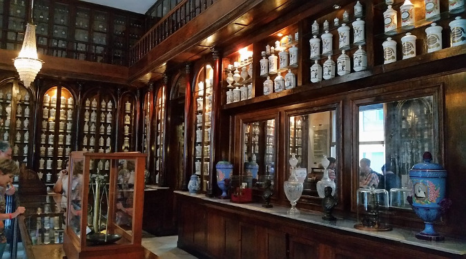 Barbara believes their value in old-time remedies. The inside of a traditional drugstore or apothecary with walls lines with jars.