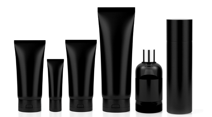 100 Pure has a 9 step testing process to ensure that a product is up to standard. It even tests packaging. Here, a picture of 6 different packaging types in black are shown.