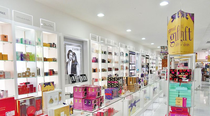 "Rob wanted products that looked professional and polished or, in his words, ""Not crunchy."" A picture of a cosmetics and fragrance counter."