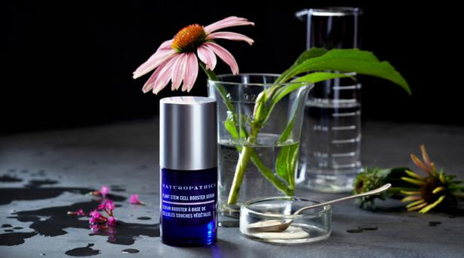 Naturopathica serum beside a beaker with a flower, symbolizing how Naturopathica takes the best of science and nature.